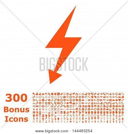 Electric Strike icon with 300 bonus icons. Vector illustration style is flat iconic symbols, orange color, white background.