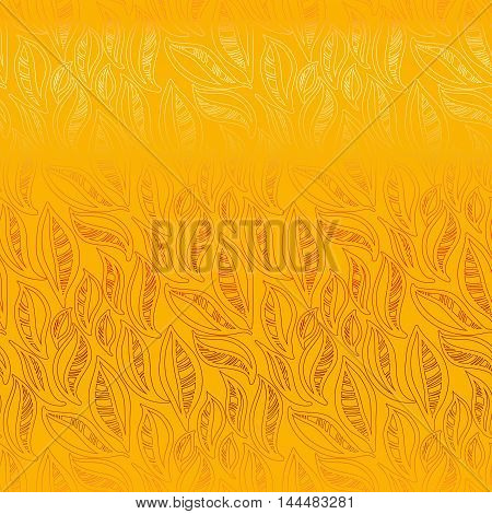 Abstract yellow orange autumn leaves pattern background. Seamless linear floral pattern. Packing or wrapping paper, fabric design texture template. Vector illustration stock vector.