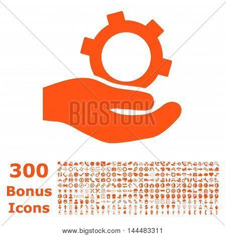 Engineering Service icon with 300 bonus icons. Vector illustration style is flat iconic symbols, orange color, white background.