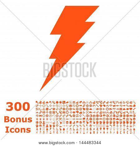 Execute icon with 300 bonus icons. Vector illustration style is flat iconic symbols, orange color, white background.