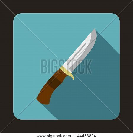 Hunting knife icon in flat style with long shadow