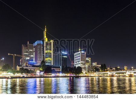 Skyline Of Frankfurt With People Enjoying The Museum Festival