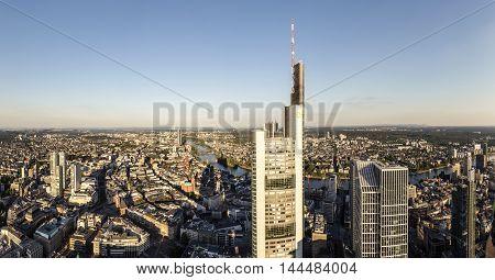 Panorama Of Frankfurt Am Main With Skyscrapers