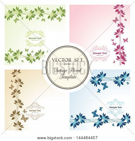 Vector set of floral backgrounds with butterflies and ornamental frame