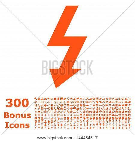 High Voltage icon with 300 bonus icons. Vector illustration style is flat iconic symbols, orange color, white background.
