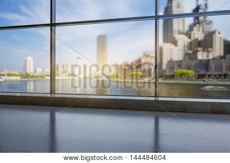 shanghai cityscape seen through window,digitally generated image.