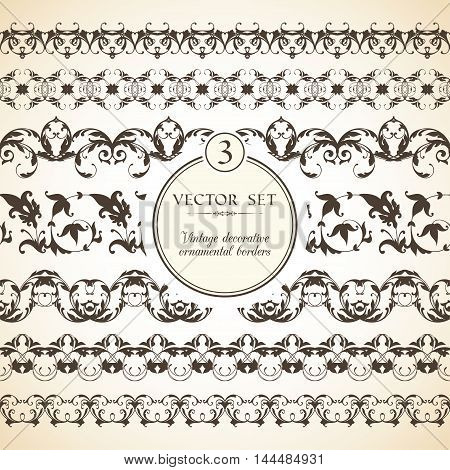 Vector set of vintage seamless ornamental decorative borders for greeting card, congratulation and invitation