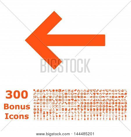 Left Arrow icon with 300 bonus icons. Vector illustration style is flat iconic symbols, orange color, white background.