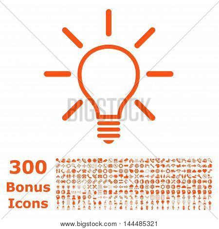 Light Bulb icon with 300 bonus icons. Vector illustration style is flat iconic symbols, orange color, white background.