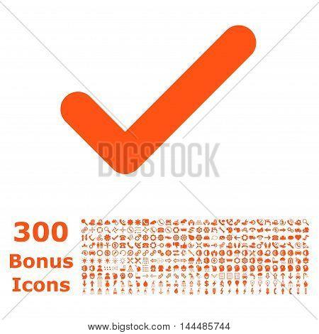 Ok icon with 300 bonus icons. Vector illustration style is flat iconic symbols, orange color, white background.