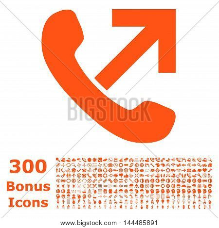 Outgoing Call icon with 300 bonus icons. Vector illustration style is flat iconic symbols, orange color, white background.
