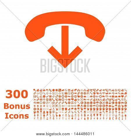 Phone Hang Up icon with 300 bonus icons. Vector illustration style is flat iconic symbols, orange color, white background.