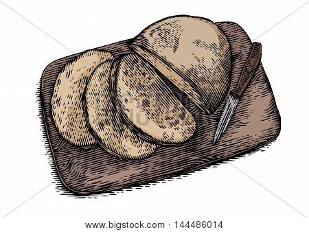 Drawing of cutted rye bread with knife on the wooden board