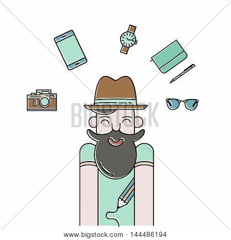 Hipster vector illustration. Smiling bearded man and gadgets icon in modern thin line style