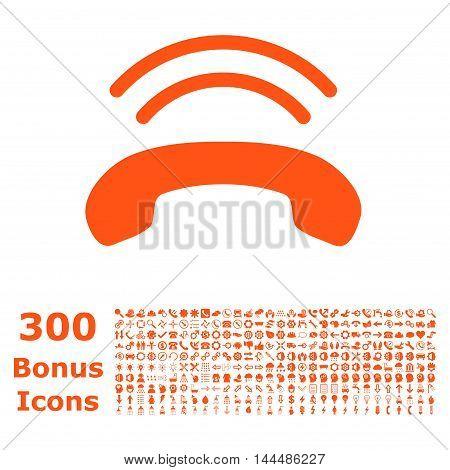 Phone Ring icon with 300 bonus icons. Vector illustration style is flat iconic symbols, orange color, white background.