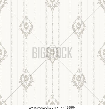 Vintage simple Easter ornate seamless pattern. Vector background with decorative Easter eggs and ornamental elements