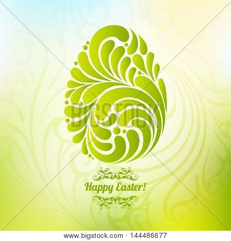 Easter spring green background with abstract ornate egg pattern Happy Easter, Easter Template Design, Greeting Card