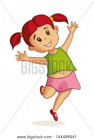Little happy girl jumping. Vector illustration.