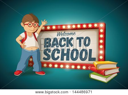Retro welcome back to school light sign, little kid and book stack.
