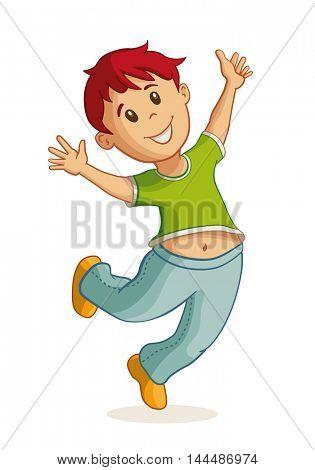 Little happy boy jumping. Vector illustration.
