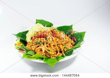 Food menu Yumsour pork on white background spicy is delicious Is a healthy food