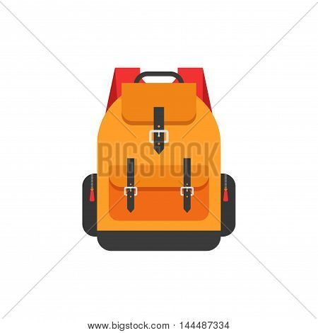 Backpack isolated on white background vector illustration, flat orange school backpack icon