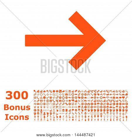 Right Arrow icon with 300 bonus icons. Vector illustration style is flat iconic symbols, orange color, white background.