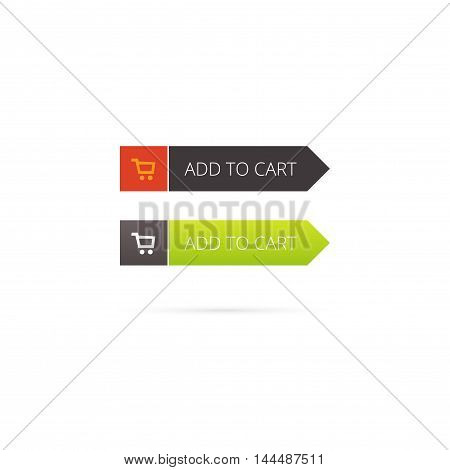 Add to cart button vector with shopping cart icon on white background