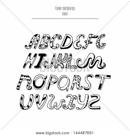 Vector decorated alphabet from a to z in cursive style hand written with ink and nib. Letters sequence good for creative lettering and print design. Isolated on white background typeset
