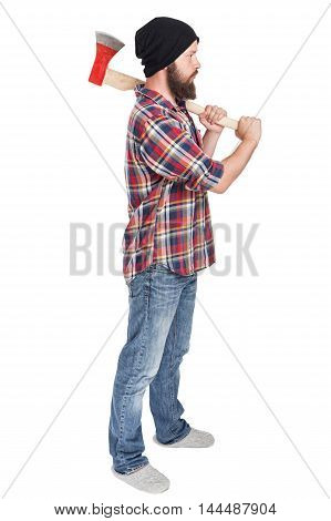 young bearded lumberjack posing with ax in his hands