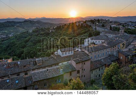 Perugia (Umbria) panorama from Porta Sole at sunrise