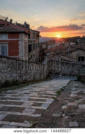 Perugia (Umbria) panorama from Porta Sole at sunset