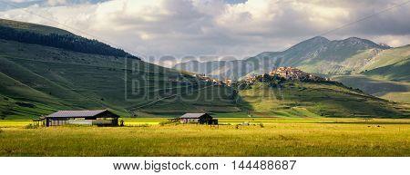 Castelluccio di Norcia (Umbria) village and beautiful landscape