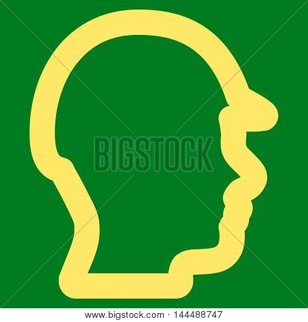 Builder Head vector icon. Style is contour flat icon symbol, yellow color, green background.