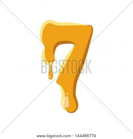 Number 7 from honey icon isolated on white background. Figure symbol