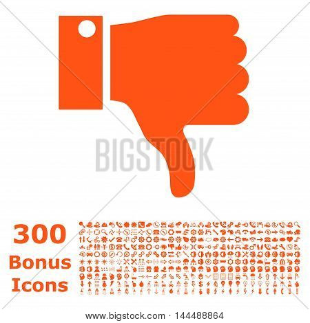 Thumb Down icon with 300 bonus icons. Vector illustration style is flat iconic symbols, orange color, white background.