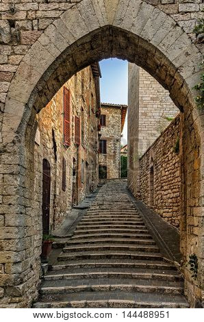 Corciano (Umbria) old alley and stairs detail