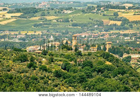 Torgiano (Umbria) scenic view from Bettona and landscape