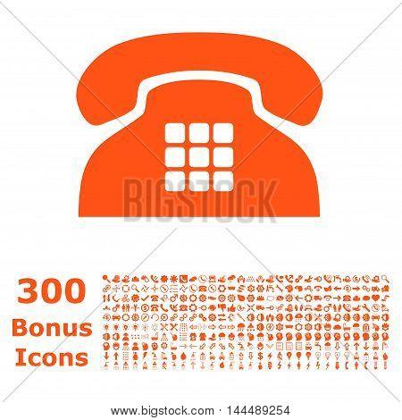 Tone Phone icon with 300 bonus icons. Vector illustration style is flat iconic symbols, orange color, white background.