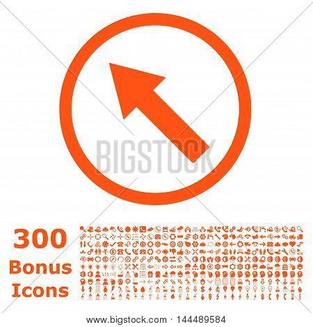 Up-Left Rounded Arrow icon with 300 bonus icons. Vector illustration style is flat iconic symbols, orange color, white background.