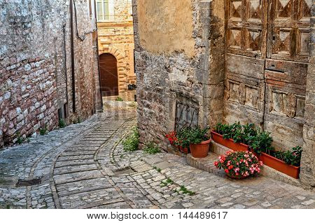 Spello (Umbria Italy) old alley and historic buildings