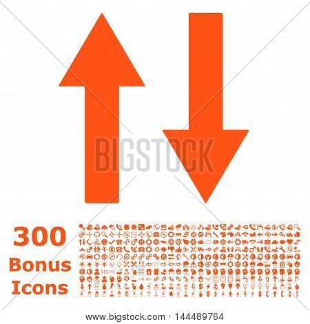 Vertical Flip Arrows icon with 300 bonus icons. Vector illustration style is flat iconic symbols, orange color, white background.