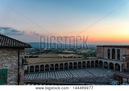 Assisi (Umbria) beautiful scenic view at sunset