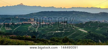 Serralunga d'Alba (Le Langhe) at sunset with Monviso in the background