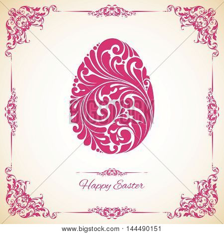 Template with decorative frame and ornate Easter egg. Happy Easter. Vector illustration. Design invitation, banner, greeting card