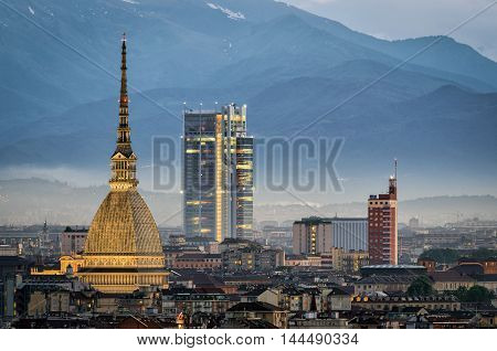 Torino panorama with close-up on the Mole Antonelliana