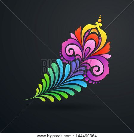 Decorative ornate color exotic feather symbol. Vector illustration
