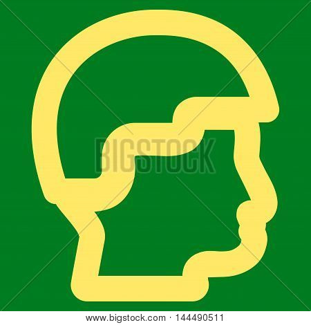 Sergeant Head vector icon. Style is linear flat icon symbol, yellow color, green background.