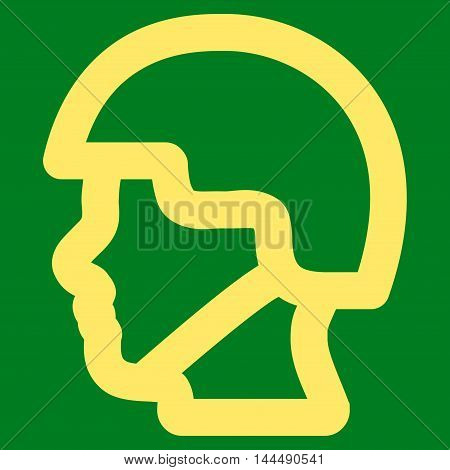Soldier Head vector icon. Style is linear flat icon symbol, yellow color, green background.