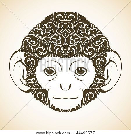 Ornamental decorative monkey. Monkey face isolated icon logo Vector illustration
